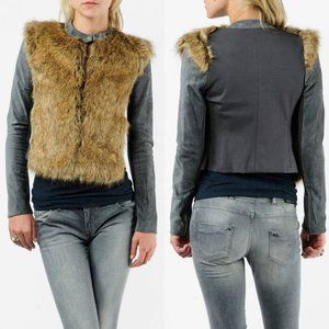 12th St. by Cynthia Vincent Fur Front Suede Jacket